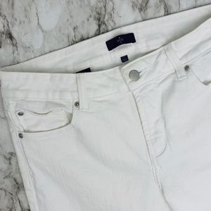 NYDJ ankle cropped white stretch jeans petite 10